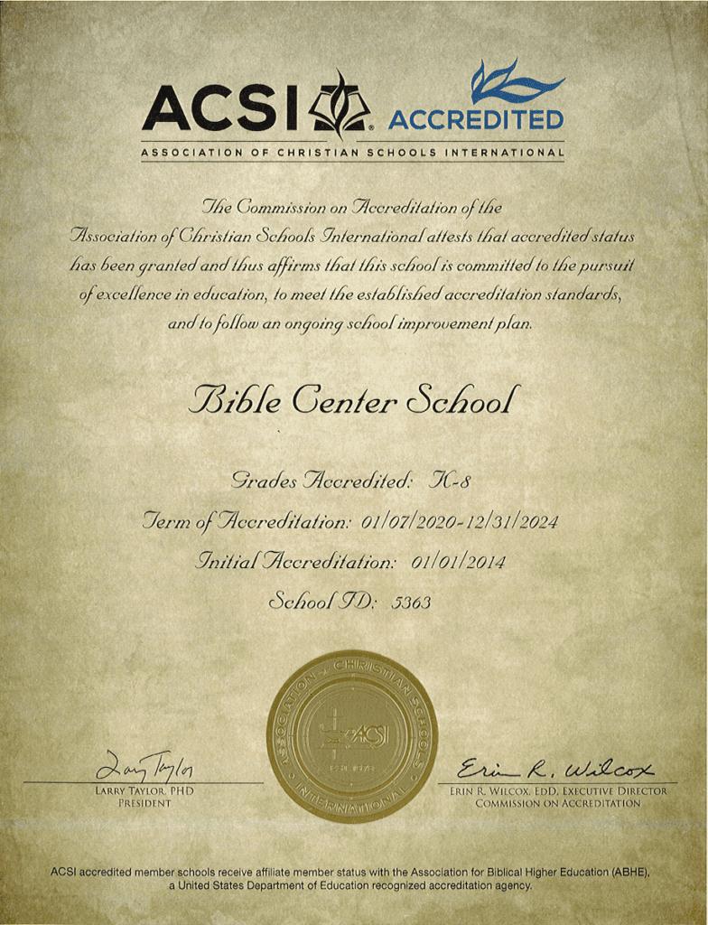 BCS ACSI Letter of Accreditation